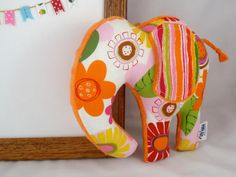 Elephant Plush Baby Toy - Stuffed Animal - Pink Orange - Orange Minky - Handmade $18.00 #LittleSidekick