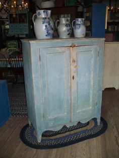 Early century New England Country Hepplewhite Storage Cupboard , found in New York State, in original blue paint Primitive Furniture, Primitive Antiques, Country Furniture, Country Primitive, Antique Furniture, Painted Furniture, Primitive Decor, Primitive Bedding, Primitive Curtains