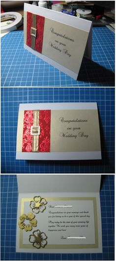 Red & gold handmade wedding card - Han-crafted (c)
