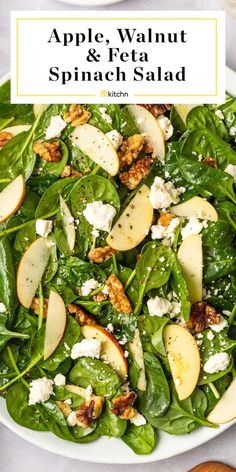 This Easy Spinach Salad with Apples, Walnuts, and Feta s a simple salad formula … – recetas de comidas y ensaladas saludables Easy Salads, Healthy Salads, Healthy Eating, Protein For Salads, Protein Salad, Summer Salads, Vegetarian Recipes, Cooking Recipes, Healthy Recipes