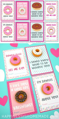 Sweet printable Donut Valentine's Day Cards make the perfect Valentine treat or party favor! Add a yummy scented donut eraser to make it extra special! Great for all ages! Homemade Valentine Cards, Valentine Crafts For Kids, Valentines Day Activities, Valentines Gifts For Boyfriend, Valentines Diy, Printable Valentine, Boyfriend Presents, Presents For Men, Homemade Cards