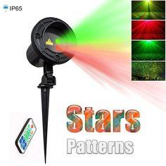 Gwiazda Światła laserowego Projektora Prysznice Boże Narodzenie Oświetlenie Ogrodowe Wodoodporna Odkryty Twinkle lampa z Pilotem na PODCZERWIEŃ Czerwony Zielony Mix Ruchu