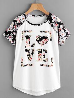 Camiseta floral de manga raglán con bajo redondeado -Spanish SheIn(Sheinside)