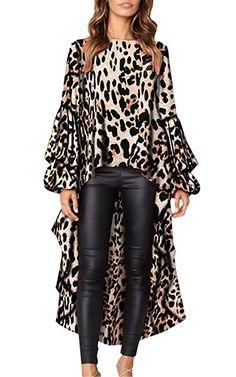 Leopard Print Long Sleeve Ladies Tops Irregular Ruffles Shirts Womens Tops and Bouses Blusas Mujer De Moda Women& Blouse Kimono Trend Fashion, Look Fashion, Fashion Outfits, Trendy Outfits, Fashion Brands, Fashion Women, Casual Tops, Casual Shirts, Overall