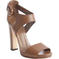 Gucci Maple Brown Leather Bamboo Buckle Heel Sandals (335627901) ($661) ❤ liked on Polyvore featuring shoes, sandals, maple brown, leather sandals, leather sole shoes, brown heeled sandals, brown block heel sandals and brown leather shoes