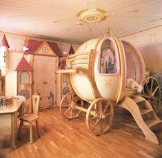 I had a Cinderella room when I was little. But this is the Cinderella room of all Cinderella rooms. Cinderella Bedroom, Fairytale Bedroom, Fantasy Bedroom, Cinderella Carriage, Princess Carriage, Cinderella Coach, Cinderella Princess, Cinderella Disney, Evil Disney