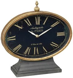 Black Iron with Antique Gold Trim Tabletop Clock