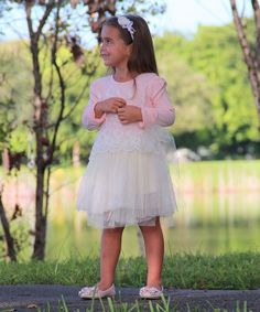 Pink & Crème Lace Tulle Dress - Toddler & Girls