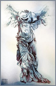 Winged Victory Of Samothrace Drawing Winged victory by