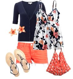 Coral & Blue spring summer women's outfit