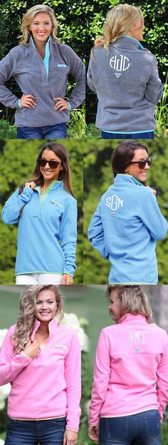 Must Have for the Preppy Fall Wardrobe! Preview your Monogram on this Columbia Harborside PFG Pullover from Marleylilly.com today! #SquadGoals