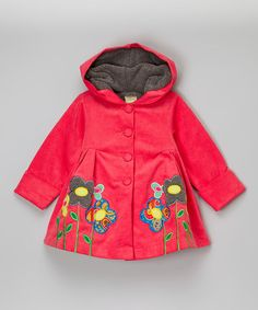 Look at this #zulilyfind! Fuchsia Floral Corduroy Hooded Swing Jacket - Toddler & Girls #zulilyfinds