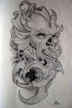 Biomechanical Tattoo Design, Skull Tattoo Design, Skull Tattoos, Animal Tattoos, Body Art Tattoos, Horror Tattoos, Tattoo Designs, Prison Drawings, Demon Drawings