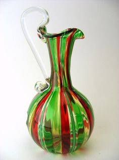 MURANO GLASS VASE A CANNE GLASS MASTER GABRIELE URBAN SIGNED