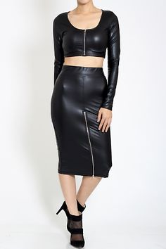 Two piece faux leather zipper accented crop top and pencil skirt set Features Adjustable zippers Long Sleeves Crop Top High Waist Pencil Skirt Occasion clubwear cocktail 95% POLYESTER, 5% SPANDEX  Available now  www.divasego.com Info@divasego.com