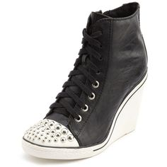 Studded Toe Lace-Up Wedge Sneaker ($22) ❤ liked on Polyvore