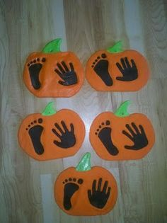 Halloween Craft I love this one!!!! Pumpkin prints for my little pumpkins!  Great grand parent decoration gifts. Salt dough. Use rubber stamps to stamp names & year.  Modpodge to glaze. #Halloween #Halloween Crafts #Kids