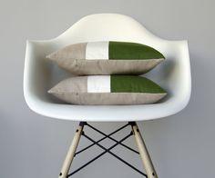 Orange Color Block Cushion Cover with Cream door JillianReneDecor