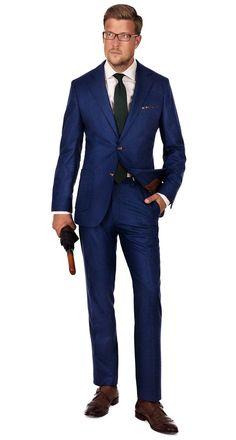 ROYAL BLUE FLANNEL SUIT |  Super 100s Wool by Vitale Barberis Canonico