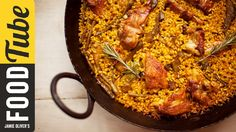 Ok before you shout at us, recipes for paella differ from region to region, and this seafood-free version is Omar's take on the classic Paella Valenciana. Traditionally made with chicken and rabbit, Omar caramelises the meat and vegetables before adding the rice and must have ingredient � saffron. Garlic, smoked paprika and rosemary all add to the incredible flavours of this dish designed to bring everyone to the table. Serve with a wedge of lemon and enjoy.