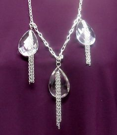 Crystal Chandelier Necklace And Earring Set by CreationsbyMJN