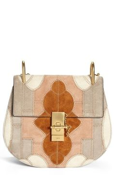 Chloé 'Small Drew' Suede Patchwork Shoulder Bag