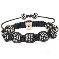 "Black Crystal Rhinestones w/ Gold Plated Beads Adjustable From 6.5""-11"" Shamballa Style Bracelet Pro Jewelry. $12.95. Material: Crystal Rhinestone, alloy & waxed cord. Size : Adjustable from 6.5""-11"". weight is about 35g. This bracelet has 9pcs of 10mm black rhinestones beads, 2pcs of 6*9mm black rhinestones beads and one cubic alloy bead."