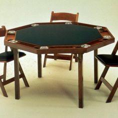 Kestell 91 Contemporary Folding Poker Table - 48 Inch - O-91-F MAHOGANY/DARK GREEN FABRIC, Durable