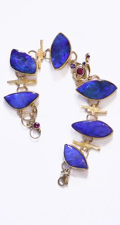 Jennifer Kalled, Boulder Opal bracelet in and gold with accents of rhodo. - Jennifer Kalled, Boulder Opal bracelet in and gold with accents of rhodolite garnet, sapphi - Lapis Lazuli Jewelry, Aquamarine Jewelry, Garnet Jewelry, Opal Jewelry, Stone Jewelry, Jewelery, Silver Jewelry, Unique Jewelry, Bohemia Jewelry