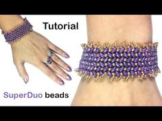 "Tutorial: Bracelet ""Herringbone"" with SuperDuo beads / Мастер-класс брас..."