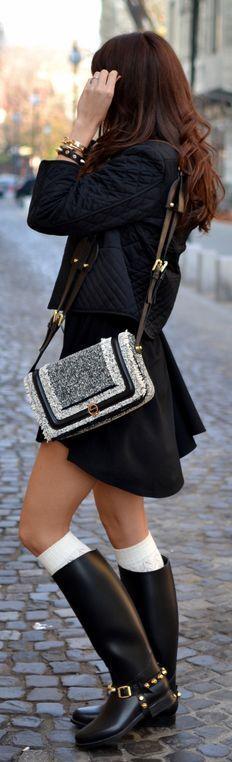 Street fashion textured coat, little black dress and rain boots