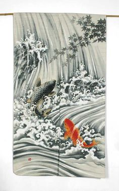 Koi Waterfall Japanese Noren - According to Japanese legend, if a koi succeeded in climbing the falls at Dragon Gate on the Yellow River it would be transformed into a dragon. The Japanese viewed the koi as a symbol of perseverance in adversity and strength of purpose. Because of its strength and determination to overcome obstacles, it stands for courage and the ability to attain high goals.