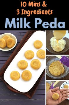 This instant version of peda are made with condensed milk. Learn how to make milk peda or doodh peda at home with this easy, step by step method. This popular Indian sweet is made during festival like Diwali or on special occasions. Easy Indian Dessert Recipes, Indian Desserts, Indian Sweets, Sweets Recipes, Indian Recipes, Cooking Recipes, Microwave Recipes, Diwali Snacks, Sweets