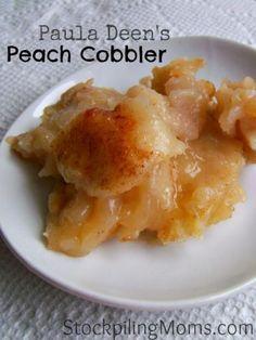 Paula Deen's Peach Cobbler recipe is yummy! Perfect after dinner dessert recipe. #pauladeen #dessert #peachcobbler