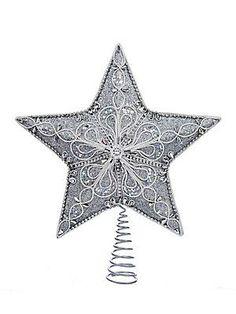 Kurt Adler Silver Star Tree Top - No Color