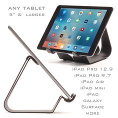 An entry level tablet iPad stand with no compromises, great for commercial and industrial environments, including your office, shop, school, hotel, home or kitchen. The Simplex offers a 5 inch wide stance and a well balanced design from USA formed steel.