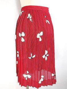 VINTAGE 80s Sheer Stripe Skirt Sz S Pleated Floral Full Knee Secretary Hi Waist