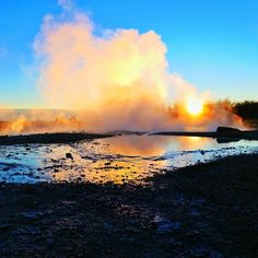When the setting sun lights the soft clouds of steam on fire.  #iceland #exploreiceland #goldencircle #geysir #travelgram #travel #travelgram #inspired_traveller #explore #wanderlust #sunset #reflections