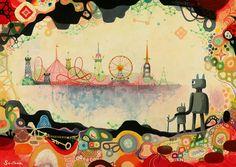 Increíble dibujo de Souther Salazar , ilustrador canadiense con una amplia imaginación y muy buen gusto a la hora de elegir colores. Me encanta