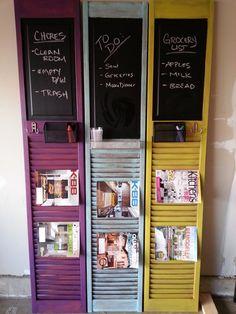 Magazine Rack/Chalk Board Organizer Distressed by TheShutterStore, $75.00