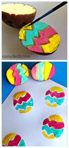 40+ Simple Easter Crafts for Kids - Easter Egg Potato Stamping Craft