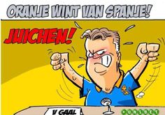 WK 2014, vrijdag 13 juni. Nederland - Spanje  JUICHEN !