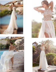 Discount Sale Bridal Dresses 2014 Sexy Beach Wedding Dresses Halter Neck Dress Sleeveless Sheath Short Detachable Train Lace Chiffon Backless Olesa Online with $120.16/Piece | DHgate