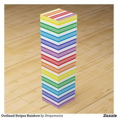 Outlined Stripes Rainbow Wine Box