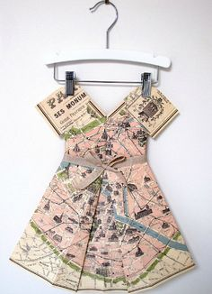 Holy cow - Paris map folded paper dress to hang as original decor in a girl's room