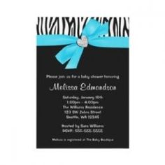 Baby blue and turquoise boy zebra baby shower invitations, matching postage stamps and stickers, and party supplies. Zebra is one of the most...