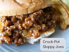 CROCK POT SLOPPY JOES: 1 lb Ground Beef 1/2 Medium Onion, chopped 1 Small to Medium Green Pepper, seeded and chopped 3/4 Cup Ketchup 1/4 Cup Regular BBQ Sauce 1/4 Teaspoon Garlic Powder 1 Teaspoon Mustard 1 Teaspoon Worcestershire Sauce