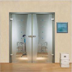 Interior Swing Glass Door / Transparent Glass Curved Lines Design + muggle stones. glass-door.us Glass Hinges, Double Glass Doors, Curved Lines, Line Design, Locker Storage, Interior, Furniture, Home Decor