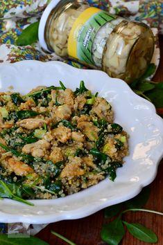 Ciuperci cu quinoa si spanac - CAIETUL CU RETETE Quinoa, Green Beans, Zucchini, Healthy Recipes, Healthy Food, Food And Drink, Vegetables, Cooking, Kitchen