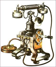 Telephone - invented 1876 by Alexander Graham Bell, it made for faster communication that could be understood even if you didn't know morse code. Alexander Graham Bell, Antique Phone, Telephone Booth, Vintage Phones, Old Clocks, Gilded Age, Industrial Revolution, Vintage Shabby Chic, Belle Epoque